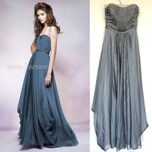 Belsoie Silver Strapless Dress